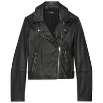 Theory New Moto Leather Zip Black Jacket Size Small Photo