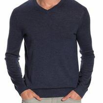 Theory Nwt Harman Rinland Merino Wool Blend v-Neck Sweater Xl Indigo Blue Mens Photo
