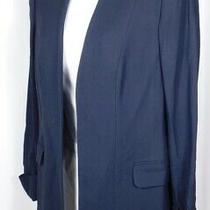 Theory Nwt Women's True Navy Rolled Sleeve Open Tivona Blazer Sz 8 (385) Photo