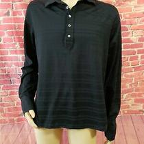 Theory Otterbein Striped Black and Blue Long Sleeve Men's Shirt Size Xl  Photo