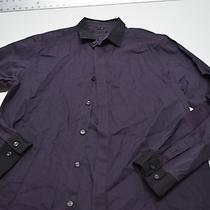 Theory Purple Black Collar Dress Shirt Xl Extra Large 17.5 X 35/36 Photo