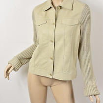 Theory Sand Beige Suede Leather W/ Wool Ribbed Knit Sleeves Bomber Jacket L Photo
