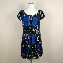 Theory Silk Dress Blue Black Bubble Hem Cap Sleeve Fit Flare Medium M Photo