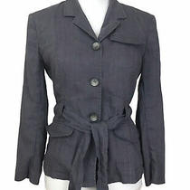 Theory Size 8 Safari Jacket Linen Blend Women's Slate Gray Blazer Belted Buttons Photo