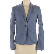 Theory Size 8 Womens Solid Navy Blue Button Blazer Jacket Wool Blend Career Photo