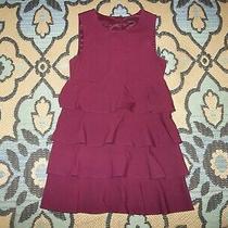 Theory Size Medium Women's Purple Maroon Dress Ruffle Prisema Tiered Photo