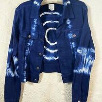 Theory Soft Cotton Denim Cropped Jacket Tie Dye Blue Sz M Made in Italy Photo