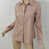 Theory Solid Blush Pink Larissa Shirt Stretch Cotton Button-Up Long Sleeve Top L Photo