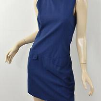 Theory Solid Navy Blue Zelda Tailor Stretch Wool Drop Waist Shift Dress S 4 Photo