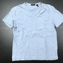 Theory Solid Slate Grey 100% Cotton Slimmer Fit v-Neck T-Shirt Size Large Photo