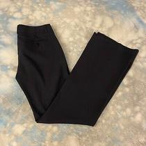 Theory Sz 4 Navy Blue Wool Flat Front Wide Leg Women's Dress Pants Photo