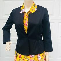Theory Sz 6 Black  Blazer Jacket Stretch Cotton Wool Lined One Button Minimalist Photo