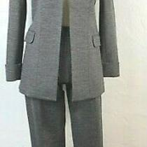 Theory Sz 8/10 Grey Stretch 2-Piece Open Front Blazer Skinny Belissa Pant Suit  Photo