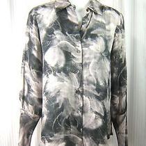 Theory Sz. M Yisenia Tufts Whispy Gray Black Print Long Sleeve Blouse Shirt Top Photo