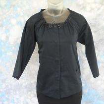 Theory Sz Xs (P) Black Button Stretch Drawstring Neck 3/4 Sleeve Women's Jacket Photo