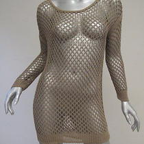 Theory Tarana Fishnet Crochet Knit Tunic Sweater Light Olive Brown Size Large  Photo