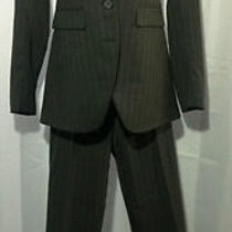 Theory Three Button Pinstripe Pant Suit Gray Size 00    Photo