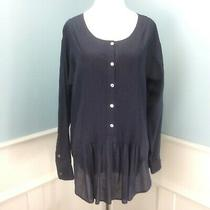 Theory Tunic Top Medium Navy Blue Pintucked Button Front Flowy Loose Photo