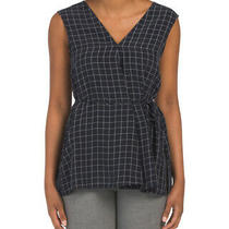 Theory v Neck Top. Navy Multi/ Noble Grid Size Medium. Nwt. 225 Photo