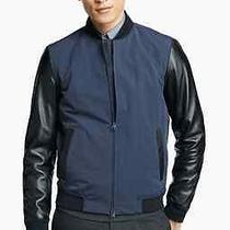 Theory Volter Torrin Leather Sleeve Bomber Jacket Size Small S  Photo