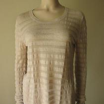 Theory Walsa Briola Striped Sweater Knit Top Soft Pink L 255 4502l -Flaw Photo