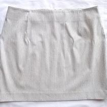Theory White Black Cotton Stretch Dasha Canvas Stripe Mini Skirt 10 Photo