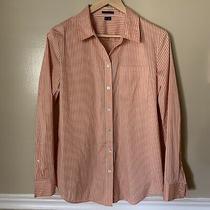 Theory White & Coral Orange Stripped Cotton Blend Womens Dress Shirt Size Large Photo