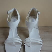 Theory White Leather Wood Heels Size 40 Made in Italy Photo