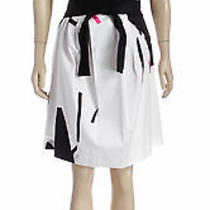 Theory White Multicolor Waist Tie a-Line Skirt (Size 2) Photo