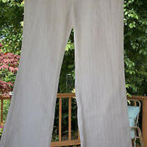 Theory White With Blue Pinstripe Cotton Summer Bootcut Pants Size 4 Photo