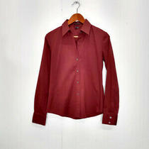 Theory Wms Medium Burgundy Red Collared Button Down Dress Shirt Basic Photo