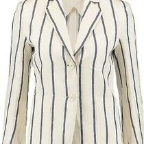 Theory Woman's White Brightdale Striped Linen Jacket Size 2 Photo
