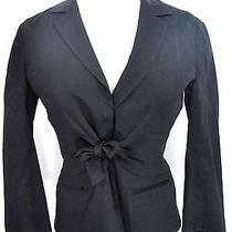 Theory Women Black Wrap Bow Tie Jacket Top Size 0 Photo