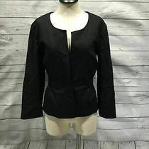 Theory Women Blazer Size 6 Black Cotton Wool Blend B83 Photo