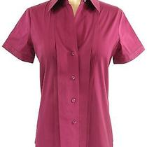 Theory Women Burgundy Button Down Collar  Sleeve Blouse Top Shirt Size Small Photo