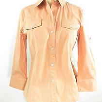 Theory Women Orange Button Down Collar Long Sleeve Blouse Top Shirt Size Medium Photo