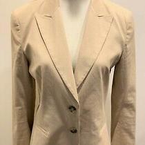 Theory Women's Beige Tan Striped 2-Button Blazer Size 12 Eeuc Photo