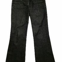 Theory Women's Black and Gray Mid Rise Wide Leg Denim Trouser Size 6 Photo