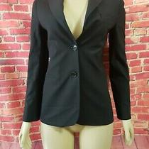 Theory Women's Black Two Buttons Wool Blend Jacket Blazer Size 4 Photo