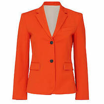 Theory Women's Blazer Orange Size 0 Two-Button Notch-Collar Solid 495- 225 Photo