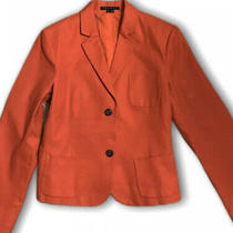 Theory Women's Blazer Red Size 12 Two-Button Notch-Collar Solid Photo