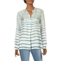 Theory Women's Blouse Blue White Size Medium M Striped Tunic Silk 355- 549 Photo