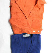 Theory Women's Button Down Top Sweater Vest Orange Blue Size Small Lot 2 Photo