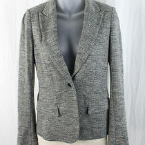 Theory Women's Gray Black Herringbone One Button Blazer Jacket Size 4 Photo
