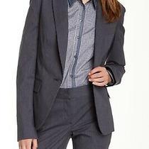 Theory Women's Gray Blue Gabe B2 Infinite Wool Blend One Button Blazer 395 Sz 8 Photo