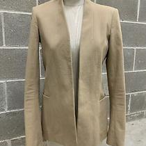 Theory Womens Khaki Blazer Jacket Cotton Blend Stretch Casual Size 4 Open Front Photo