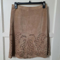 Theory Women's Leather Cut Out Skirt Taupe Size 2 Pre-Owned Photo