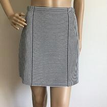 Theory Women's Striped Knit Mini Skirt Geometric Navy Blue and White Size Small Photo