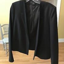 Theory Womens Tuxedo Style Blazer Size 4 Black Tie Evening Business Wool Blend Photo