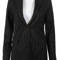 Theory Women's Two Button Collared Blazer Wool Brown Size 6 Photo